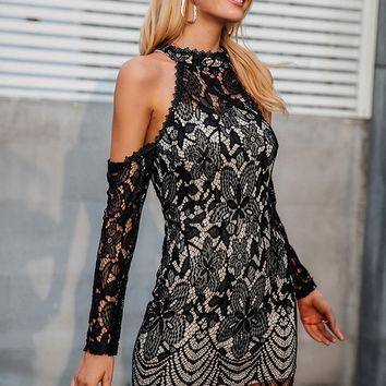 HalterCold Shoulder Black Lace Sexy Party Dress.