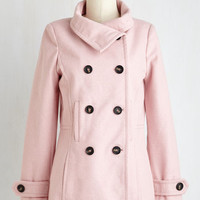 Pastel Mid-length Long Sleeve Double Breasted The Best of Timeless Coat in Blush