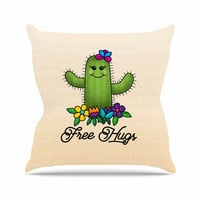 "Noonday Design ""Free Hugs Cactus"" Green Pastel Throw Pillow"