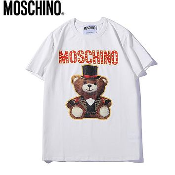 MOSCHINO Trending Women Men Leisure Cute Bear Print Round Collar T-Shirt Top White