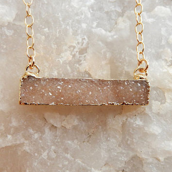 Champagne Nude Druzy Bar Gold Necklace Rectangle Quartz Drusy - Free Shipping OOAK Jewelry