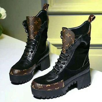 LV LOUIS VUITTON Women's Hipster High Quality Waterproof Martin Boots F-GCXGCFH-GC
