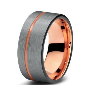 Asymmetrical Groove Silver and Rose Gold Tungsten Band