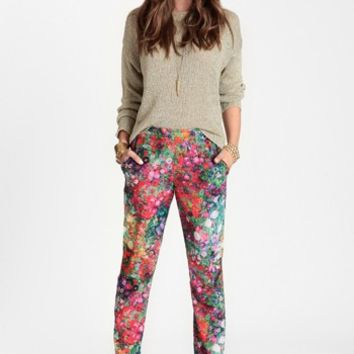 Saturated Floral Crop Pants