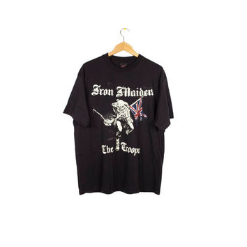 vintage IRON MAIDEN shirt - The Trooper - Eddie - black band tee - l - xl