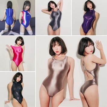 LEOHEX 2019 Sexy Satin Glossy Body Suit High Cut One Piece Swimwear Women Glitter Bodysuit Shiny Bathing Suits Female Swimsuit