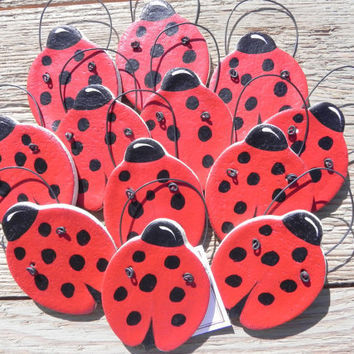Salt Dough Ladybugs Set of 12 Ornaments