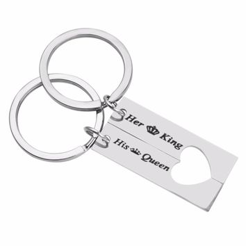 """""""Her King & His Queen"""" Couple Keychain Lover Heart Key Chain Keyring Customized Custom Names llavero for Valentines Day"""