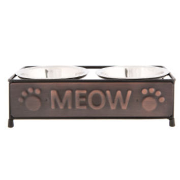 Whisker City® Copper Cat Meow Double Diner Cat Bowl | Food & Water Bowls | PetSmart