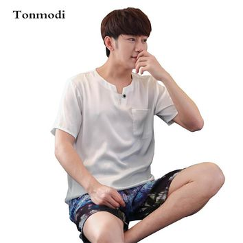 Men's pajamas Summer viscose sleepwear short-sleeve thin silk sleepwear male lounge pajama set