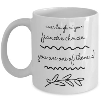 """Cheap Valentines Day Gifts for Men & Women - Mug For Couples - Engagement Gifts For Fiancée Fiance - Funny Mug Cup For Female Male Couples - White Ceramic 11"""" Vday Jar Cup For Coffee & Pens"""