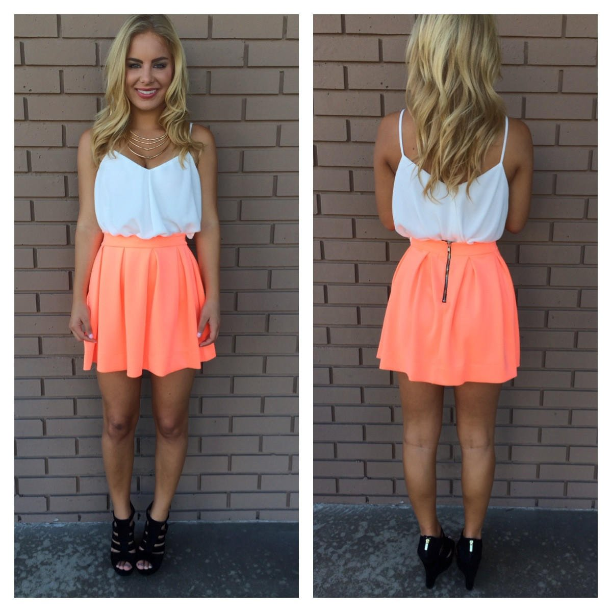neon coral skater skirt from dainty hooligan dresses ��