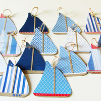 paper sailboat garland, nautical them paper sailboats, baby shower decoration, baby nursery garland, garland for boys bedroom, beach party