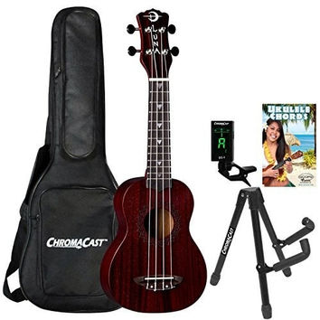 Luna Guitars UKE-VMS-RDS-KIT-2 Vintage with Chroma Cast Accessories, Red Satin Mahogany Soprano Ukulele