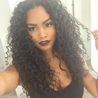 """Natural Black Color Middle Part Kinky Curly 100% Brazilian Virgin Human Hair Lace Front Wig 12"""""""