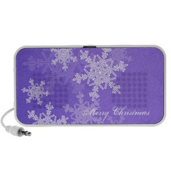 Girly deep blue and white Christmas snowflakes Portable Speaker