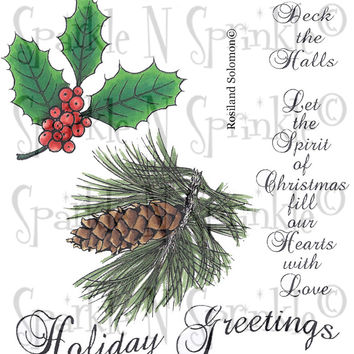 Holiday Greetings Rubber Stamp Set [00-689P7]