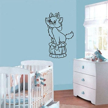 Wall Mural Vinyl Sticker Decal    	  small cat bow poof DA1392