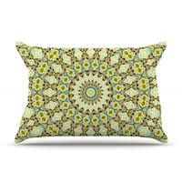 "Iris Lehnhardt ""Kaleidoscope Green"" Geometric Pillow Case"