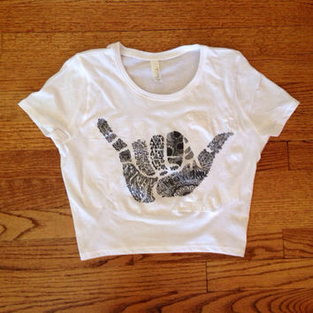 Hang loose cropped tee lightweight Golden Youth brandy Melville inspired women's clothing