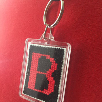 Lovingly Hand Stitched Unisex Monogram Cross Stitch Keyring Necklace Letter B