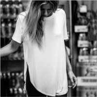 Pure color Slim short-sleeved T-shit B0014705