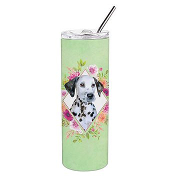 Dalmatian Puppy Green Flowers Double Walled Stainless Steel 20 oz Skinny Tumbler CK4296TBL20