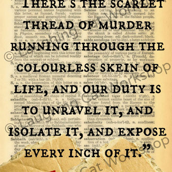 Sherlock Holmes literature quote art print poster Conan Doyle teen wall art Geekery wall decor Study Scarlet murder mystery library pictures