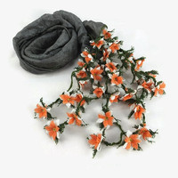 Spring Summer Charcoal Gray Silk Scarflette  with needle crochet Flower Oya Edges , Gray Silk Foulard, Womens  Scarflette,