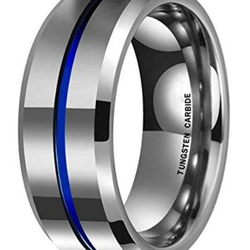 CERTIFIED 8mm Thin Blue Groove Matte Brushed Tungsten Carbide Ring Wedding Band