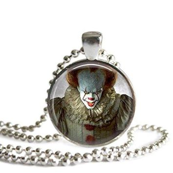 Pennywise Stephen King's It Remake 1 Inch Silver Plated Pendant Necklace Handmade