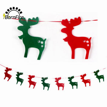 2M Event Party Supplies Christmas Decoration For Home Santa Bunting Pennant Hanging Flag Banner Xmas Ornaments Supplies Elk #