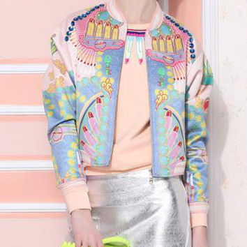 Blue Graffiti Print Zipper Cropped Long Sleeve Jacket