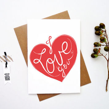 I love you card. Typography greeting. Weddings. Valentines. Anytime Note card. LC329