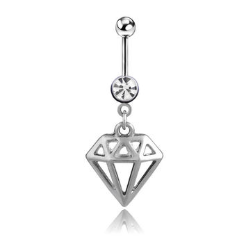New Charming Dangle Crystal Navel Belly Ring Bling Barbell Button Ring Piercing Body Jewelry = 4804912068
