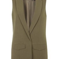 PETITE Sleeveless Tailored Jacket - Khaki