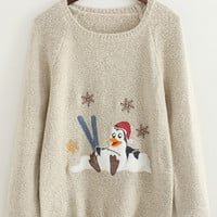 Apricot Round Neck Penguin Embroidered Sweater