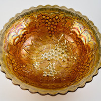 """Imperial Vintage Imperial Grape 10"""" Round Bowl in Carnival Marigold"""