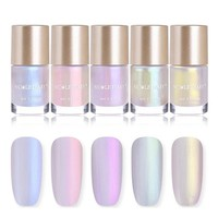 NICOLE DIARY 9ml Nail Polish Jelly Holographic Chameleon Metallic Polish Shiny Flakies Sequins Manicure Nail Art Lacquer Varnish