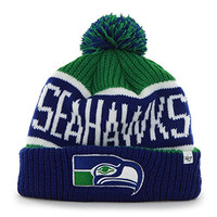 "Seattle Seahawks Blue Cuff ""Calgary"" Beanie Hat with Pom - NFL Cuffed Winter Knit Toque Cap"