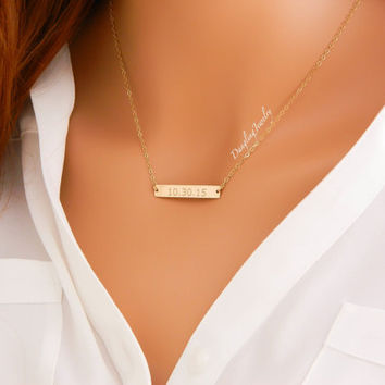 GOLD Bar Necklace, Custom Date Necklace, Wedding Jewelry, Bridesmaid Gift, Bridal Gift Idea, Bridesmaid Necklace, Wedding Date Jewelry