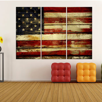 Large wall art for living room, usa flag canvas print extra large wall art United States flag art canvas, American flag art print  8s34