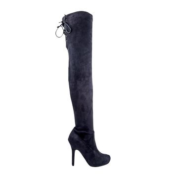 Women's Black Faux Suede Platform Thigh High Boots