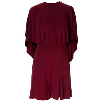 Cape Mini Dress, Oxblood