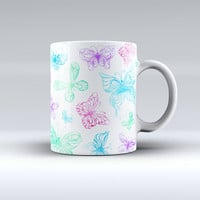 The Vivid Vector Butterflies ink-Fuzed Ceramic Coffee Mug