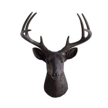 The Virginia | Large Deer Head | Faux Taxidermy | Black Resin