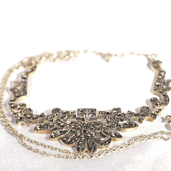 Art deco silver necklace, chain and pendant 1930s sterling marcasite fashion jewelry