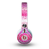 The Hot Pink Striped Cheetah Print Skin for the Beats by Dre Mixr Headphones