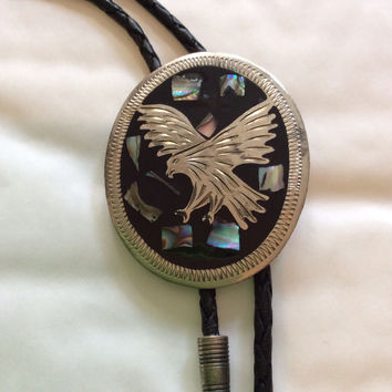 Vintage Mexican Alpaca Bolo Silver Tie, Eagle, Mexican Silver, Abalone Shell, 1960s Vintage Jewelry, Gift for Her SPRING SALE