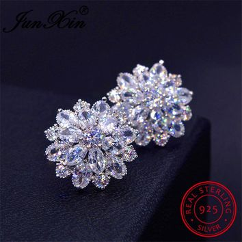 JUNXIN Female Snowflake Stud Earring 100% Real 925 Sterling Silver Jewelry High Quality AAA Zircon Double Earrings For Women